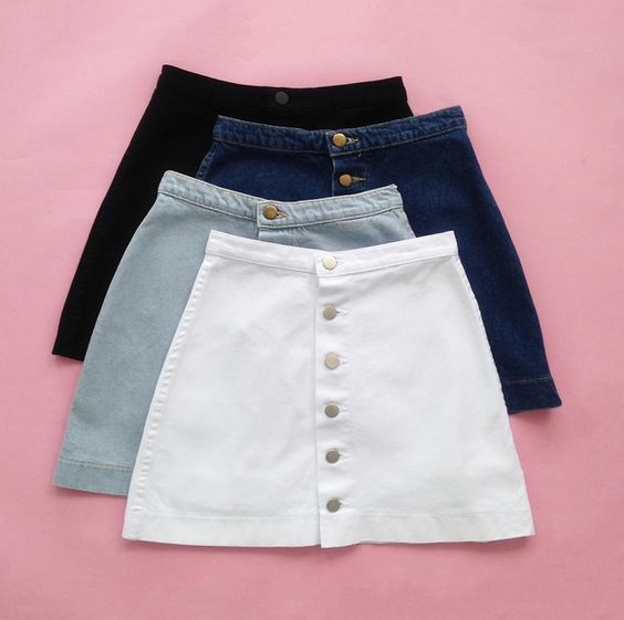 We're in love with our Button Front Denim A-Line Skirt! Which color do you like?