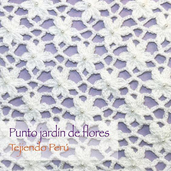 Punto jard n de flores tejido a crochet le dimos brillo - Punto jardin ...