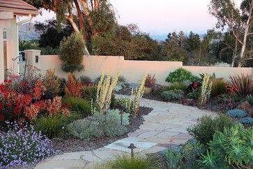 Mediterranean Arroyo Grande Retreat - Mediterranean - Landscape - San Luis Obispo - Gardens by Gabriel. Kniphofia, sedum, euphorbia, and more surround this flagstone pathway in Arroyo Grande, CA.