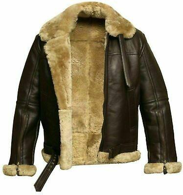 Mens B3 Bomber Flying Aviator Faux Shearling Fur Black Leather Jacket