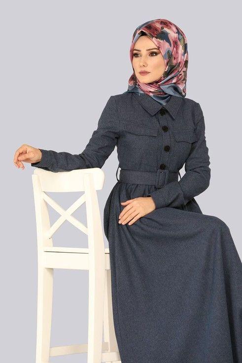 Elbise Kemerli Kislik Elbise 8397d170 Laci Musluman Modasi Hijab Chic Moda Stilleri