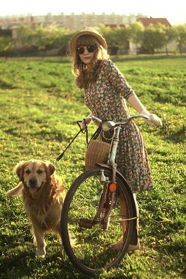 biking with dog: