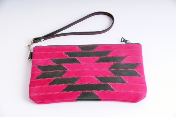Leather Cell Phone Wallet, Small Leather Clutch, Leather Wristlet Wallet, Women's Wallet, Wristlet Case, Purse, Ethnic Style, Magenta, Gray by IrynaPlusLeather on Etsy https://www.etsy.com/listing/271159585/leather-cell-phone-wallet-small-leather
