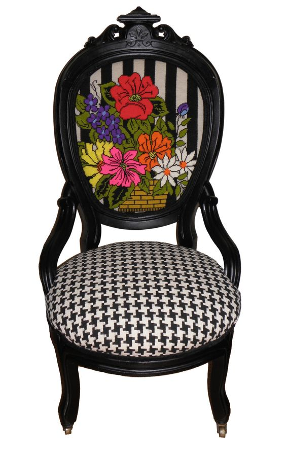 Vintage Refurbished Wooden Parlor Chair with Needlepoint Flowers and Houndstooth