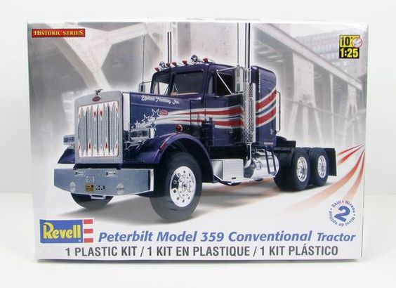 This plastic model truck kit of a Peterbilt 359 Conventional Tractor is made by…