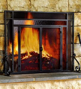 Winchester Fireplace Screen With Doors Plowhearth Glass Fireplace Fireplace Screens With Doors Fireplace Screens