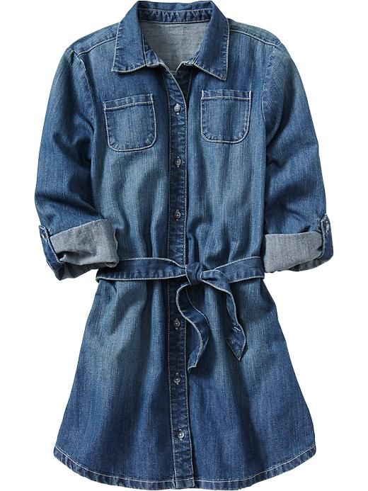 Old Navy | Girls Denim Shirt Dresses and a fall colored scarf with ...