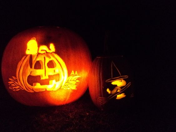 Snoopy woodstock carved pumpkins it s the great