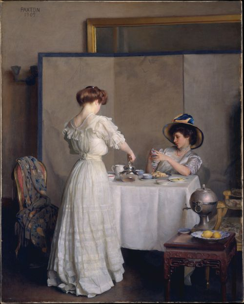 "the-garden-of-delights:   ""Tea leaves"" by William McGregor Paxton (1909)."