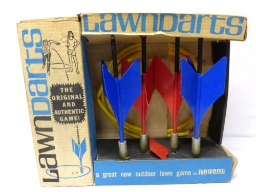 Vintage Original Regent Lawn Darts Outdoor Game Complete w/Original Box - Rare