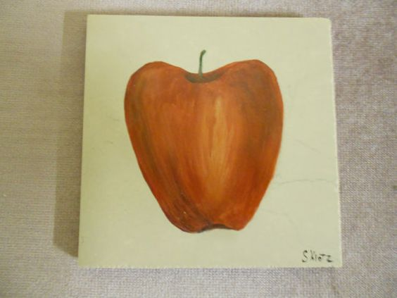 Apple decor ceramic tile used for hot pots pans by Collectivekayos, $8.00