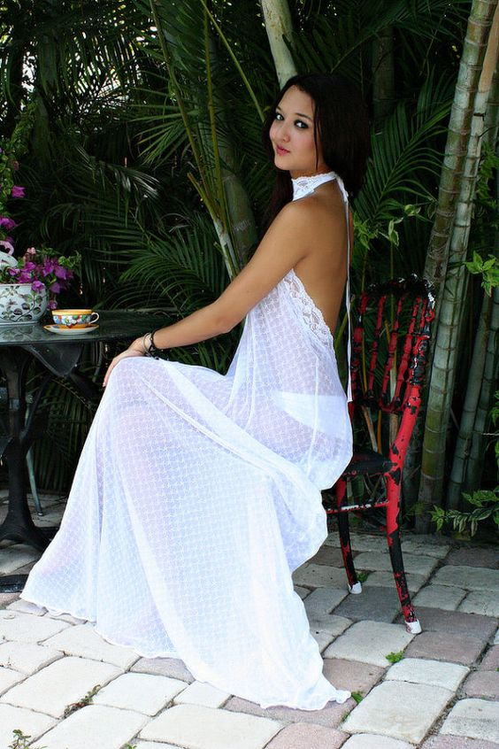 Backless White Lace Nightgown Halter Sheer Lace