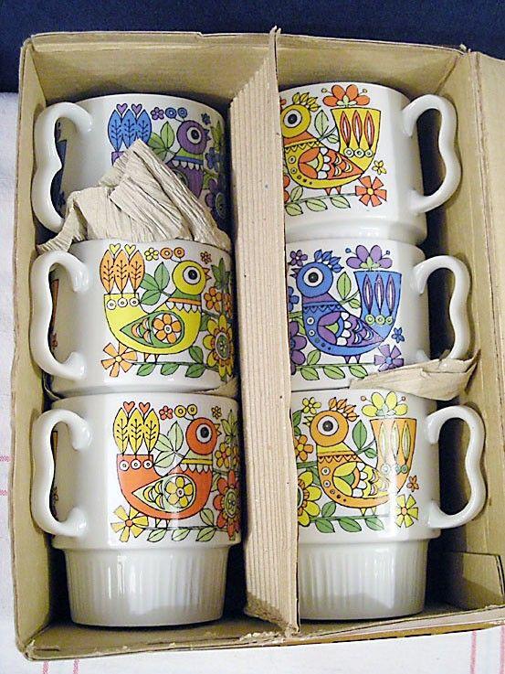 Vintage Royal Sealy Birds Coffee Mug and Stand Set - Japan