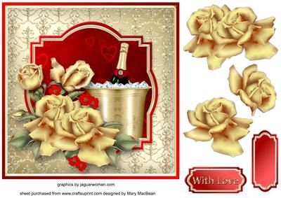 Champagne and Gold Decoupage Card Front on Craftsuprint designed by Mary MacBean - Decoupage card front with champagne and roses. There is a With Love sentiment or a blank tag for your own message.  - Now available for download!