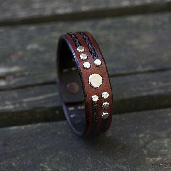 Pferdehaar und Leder-Armband
