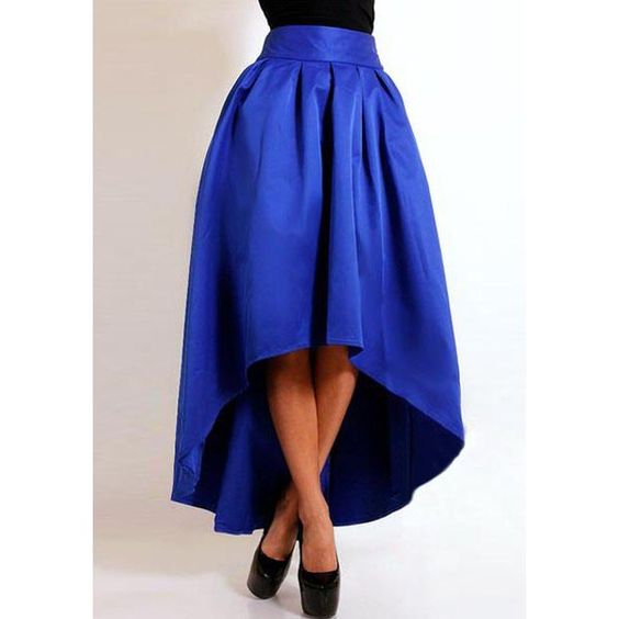 Stylish High-Waisted Pure Color Ruffled Asymmetrical Women's Skirt ...