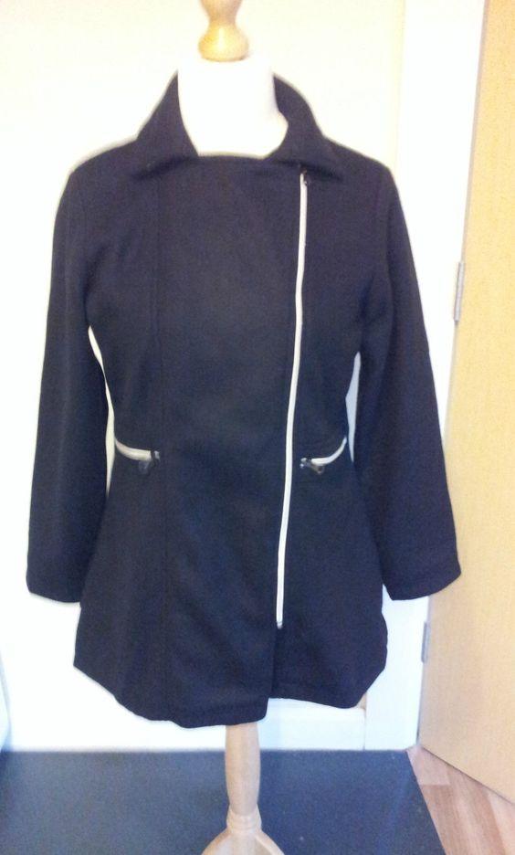 La Redoute Fleece Coat Zip Up  Size 14/16  Ladies Women's Black.