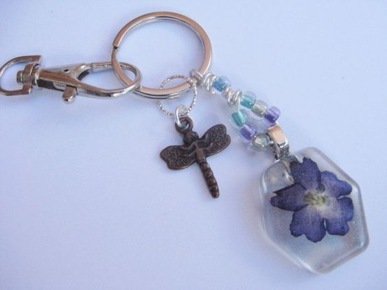 Keyring Bag Charm, Real Flower and Dragonfly Keyring or Bag Charm, Stocking Filler Gift by Wireandcolour on Etsy