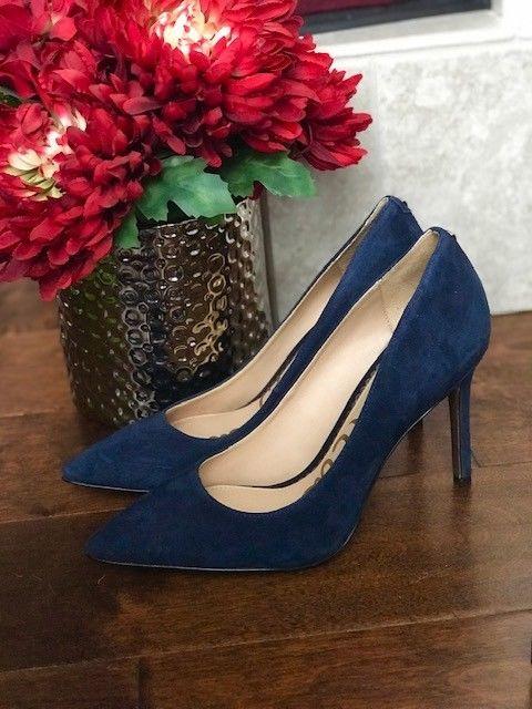 Sam Edelman Hazel navy suede heels size