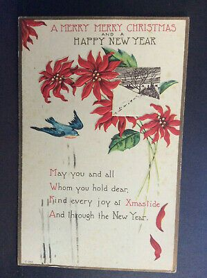 Merry Christmas And Happy New Year 2020 Country Images A Merry Christmas Happy New Year Blue Bird Poinsettia Country Vtg
