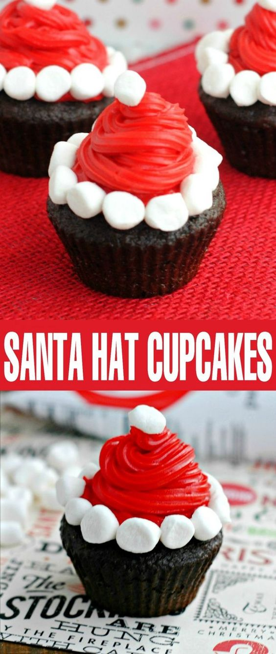 These Santa Hat Cupcakes are perfect for a Christmas party desserts table. Your family will love this easy Christmas treat idea!: