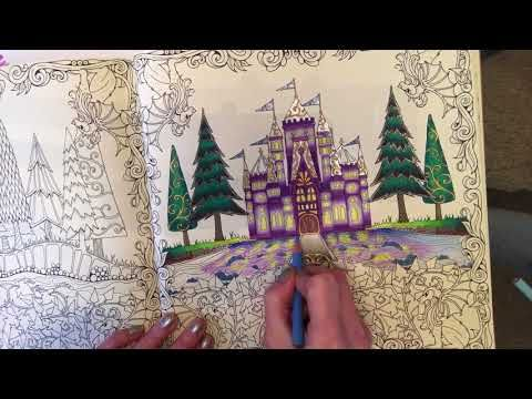 Tutorial 3 Johanna Basford Enchanted Forest Reflection In The Moat Youtube