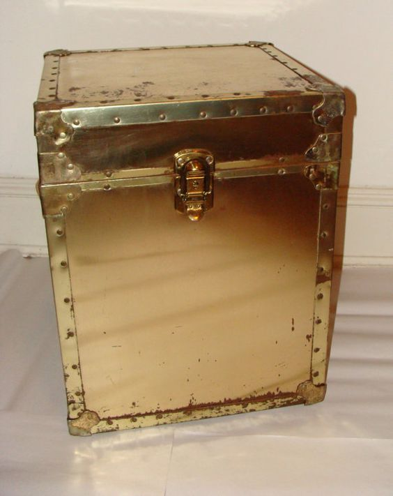 Vintage Brass Gold Storage Trunk Eclectic Footlocker by studio180, SOLD