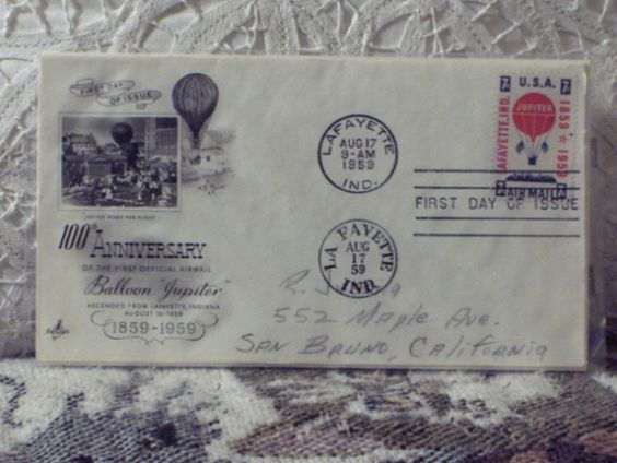 http://ajunkeeshoppe.blogspot.com/  First Day Issue/Cover-Stamp-100th Anniversary 1st Airmail 1959 8ozP724B4HP1196