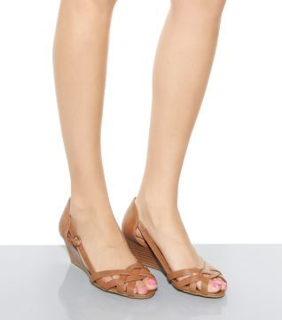 Tan Cut Out Pleated Mid Wedges - New Look