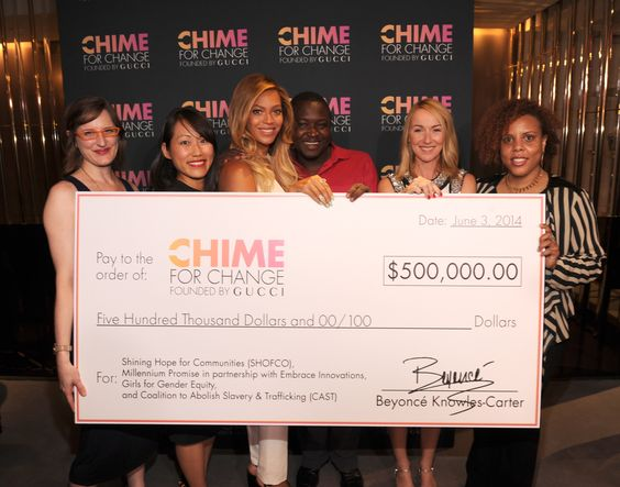 Last night in New York City, Chime for Change donated $500,000 to four projects helping girls and women across the world.