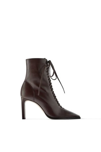 LACED LEATHER HIGH-HEEL ANKLE BOOTS