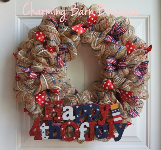 *** PLEASE NOTE - Due to shipping times this wreath may not be able to get to you by July 4th if that is what you are wanting it for.***