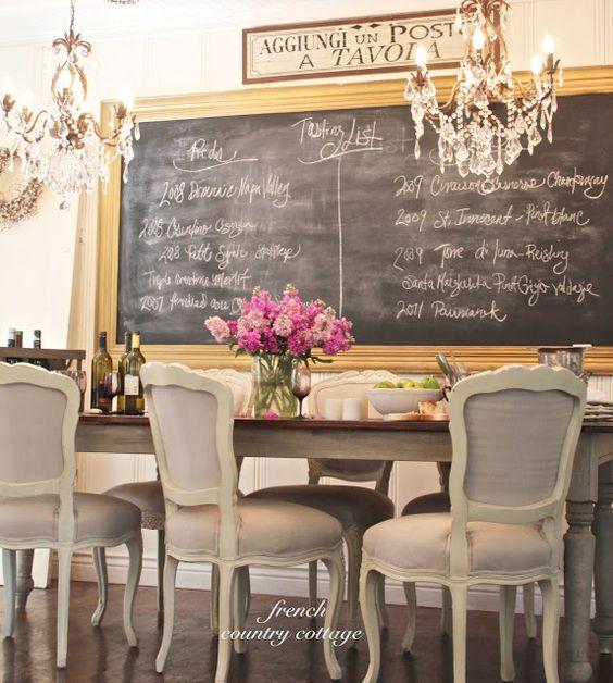 Amazing dining room backdrop via French Country Cottage: French Country Cottage, Dining Rooms, Country Cottages, Dinning Room, Chalk Board, Chalkboard Idea, Diningroom