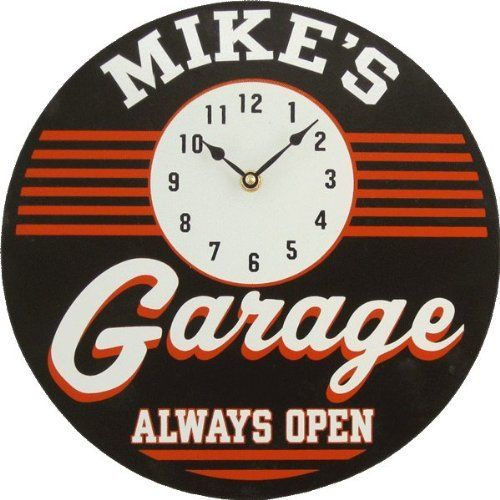 Personalized Garage Clock Custom Wooden Novelty Sign by DS. $32.00. Personalized clock. Handcrafted in the USA of furniture grade wood and professionally silk screened by hand. Personalized with name of your choice. 12 character limit. Clock includes hanger on back. Perfect addition to any home. Makes a thoughtful gift with a personalized touch. Requires one AA battery (not included). Production time is 2-2 1/2 weeks. Please buy accordingly.