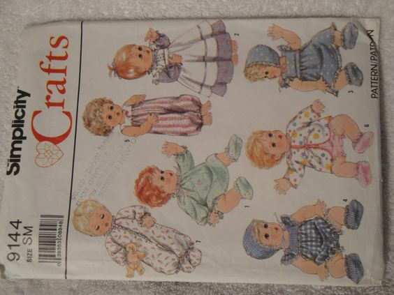 "Simplicity 9144 Craft Doll Clothes Small 13"" - 14"" Dolls Vintage 1989 Cut Complete No Missing Pieces - pinned by pin4etsy.com"