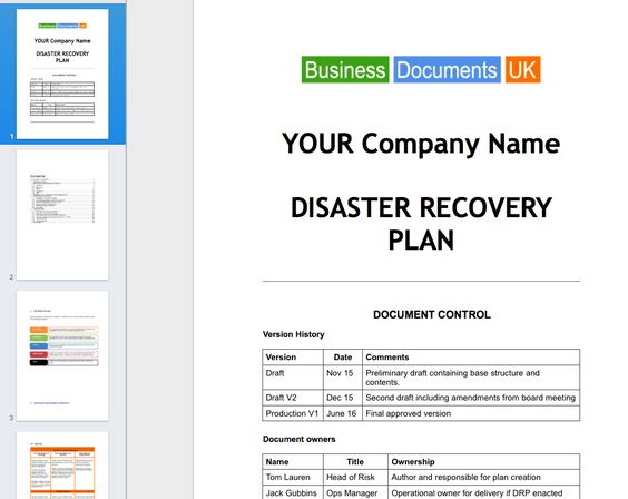 IT Disaster Recovery \ Prevention build own IT Disaster Recovery - free business continuity plan template