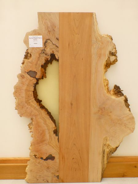 Natural edge big leaf maple with cherry and clear epoxy for Finished wood slabs