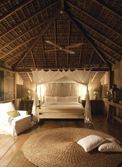 Love The Tall Peaked Ceiling Plus The Bed Draped In