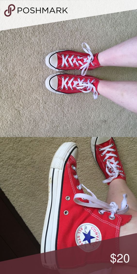 Red high top converse Good condition. Shoes Sneakers