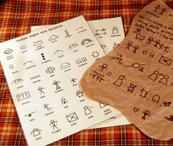 "Pioneer activity: Write with Indian symbols/pictographs and celebrate diversity. Draw on brown paper ""pelts"". A 72 character guide is available to download on Etsy:"