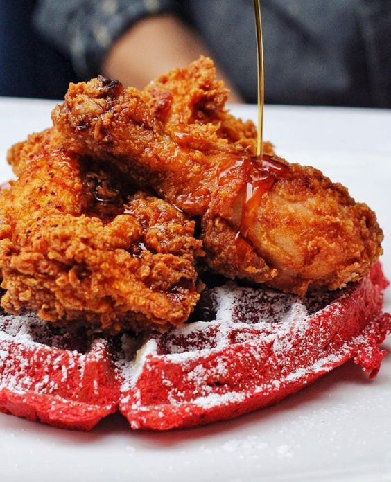 Fried Chicken and Red Velvet Waffle