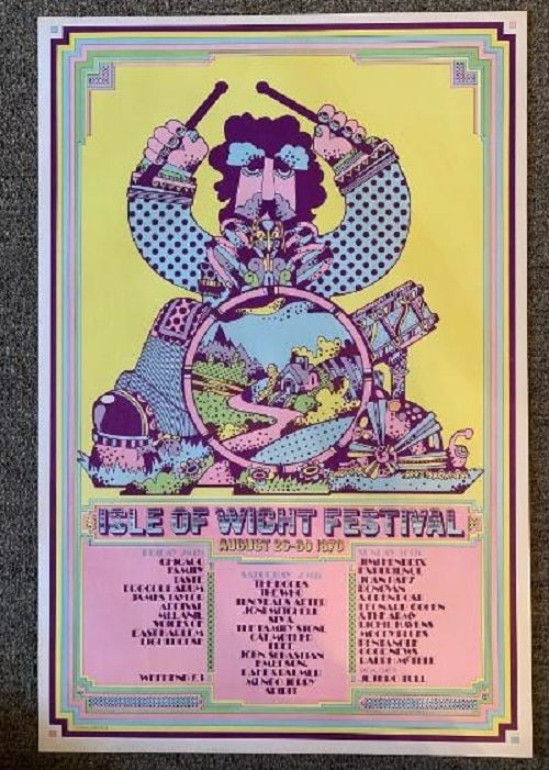 Isle Of Wight Concert Poster 1970 Hendrix Doors The Who Rare Visible Vibrations Isle Of Wight Festival Concert Posters Rock And Roll History