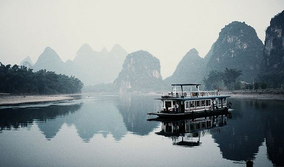 Li River, Guilin China. One of the most gorgeous and poetics landscapes in China.