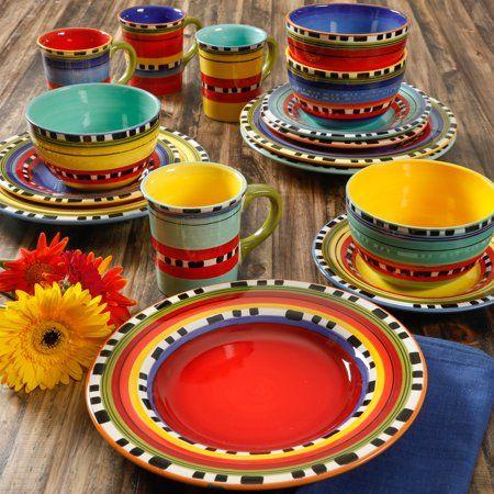Gibson Home Pueblo Springs Handpainted 16 Piece Dinnerware Set Walmart Com Colorful Dinnerware Dinnerware Set Dinnerware Bright colored dinnerware sets