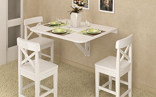 Amazon Com Large Wall Mount Drop Leaf Folding Table White Solid Wood 36 X 30 Inches Kitchen Small Kitchen Tables Space Saving Dining Table Small Dining Table