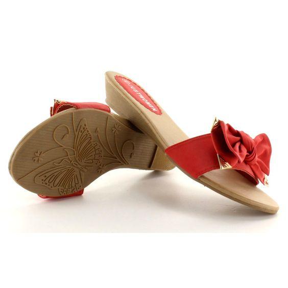 Klapki Eleganckie Yc 51 Czerwone Kitten Heels Heels Mule Shoe