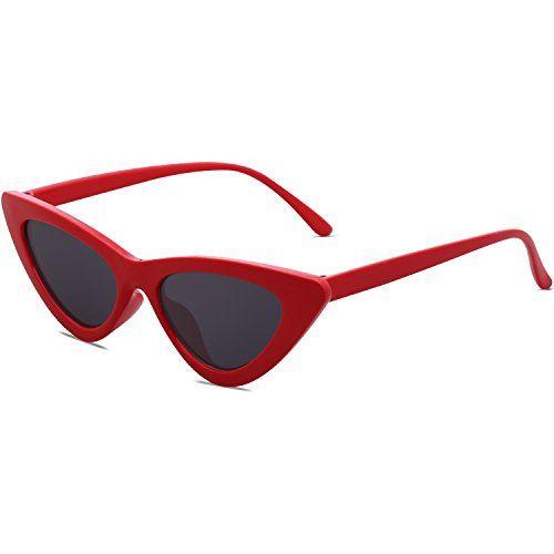 FakMe Retro Vintage Narrow Cat Eye Sunglasses for Women Clout Goggles Plastic Frame Sunglasses