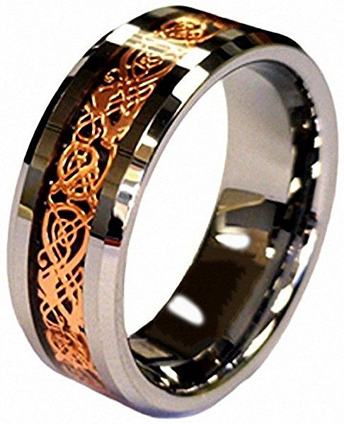 6//8mm 18K Rose Gold Celtic Tungsten Carbide Wedding Band Engagement Matching Couple Ring
