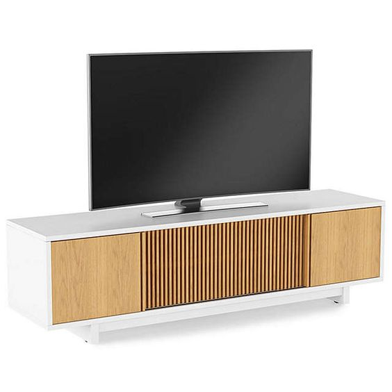 "BuyBDI Vertica 8559 TV Stand for TVs up to 82"", White Oak Online at johnlewis.com"