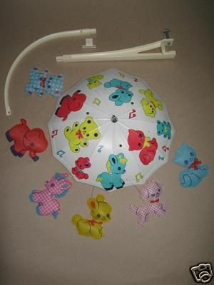 Vintage 1971 Dolly Toy Company Musical Animal Shower Crib Mobile Carousel | eBay